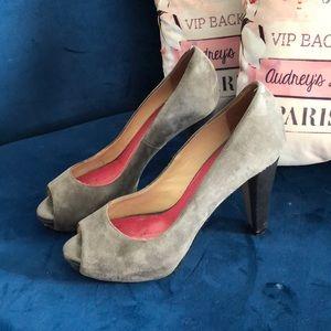 Kate Spade grey suede peep toes
